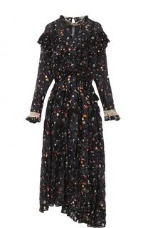 Шелковое платье-миди с оборками и принтом PREEN by Thornton Bregazzi