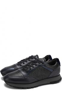 Комбинированные кроссовки на шнуровке Santoni