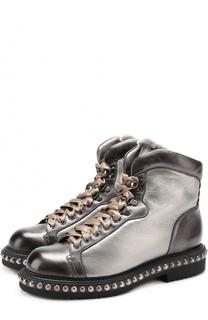 Ботинки из металлизировнной кожи с заклепкам Santoni