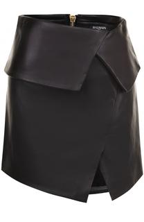 Кожаная мини-юбка с разрезом Balmain