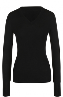Облегающий шерстяной пуловер с V-образным вырезом Alaia