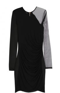 Платье-футляр с прозрачной вставкой Balmain