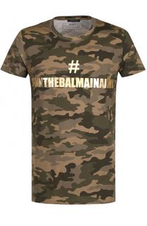 Хлопковая футболка с камуфляжным принтом Balmain