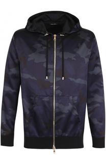 Куртка из смеси хлопка и вискозы с камуфляжным принтом Balmain