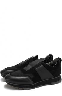 Комбинированные кроссовки без шнуровки Santoni