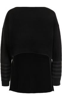 Кашемировый пуловер с удлиненный спинкой Sonia Rykiel