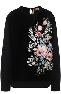 Хлопковый свитшот с контрастной цветочной вышивкой No. 21