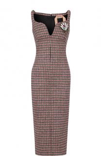 Платье-футляр в клетку с брошью No. 21