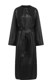 Удлиненное кожаное пальто с поясом The Row