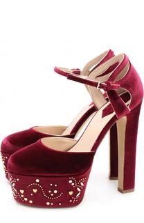 Бархатные туфли с заклепками на платформе Elie Saab