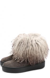 Замшевые ботинки с отделкой из овчины Baldan