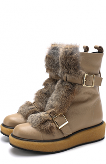 Кожаные ботинки с отделкой из меха кролика Paloma Barcelo