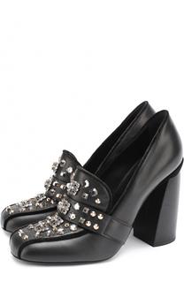 Кожаные туфли со стразами и заклепками на устойчивом каблуке Baldan