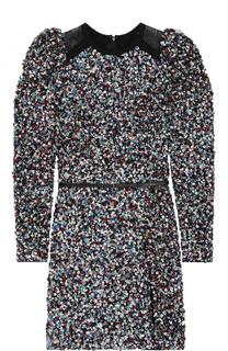 Мини-платье с пайетками и рукавом-фонарик Elie Saab