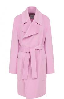 Шерстяное пальто с накладными карманами и поясом BOSS