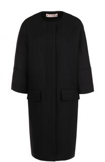 Шерстяное пальто с круглым вырезом и укороченным рукавом Marni
