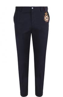 Хлопковые брюки прямого кроя с контрастной вышивкой Dolce & Gabbana