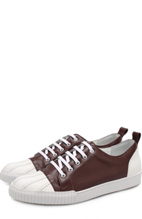 Кожаные кеды на шнуровке с контрастной отделкой Marni
