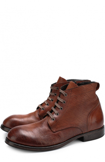 Высокие кожаные ботинки на шнуровке с молнией Moma