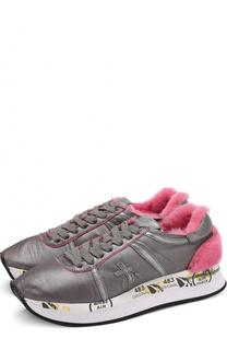 Кожаные кроссовки Conny с меховой отделкой Premiata
