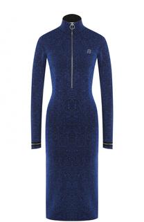 Платье-миди с металлизированной отделкой и воротником-стойкой Bally