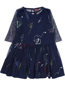 Мини-платье с прозрачными рукавами и вышивкой Stella McCartney