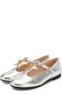 Туфли из металлизированной кожи с аппликацией и ремешком Il Gufo
