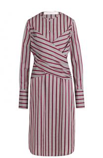 Хлопковое платье-миди в полоску Victoria by Victoria Beckham
