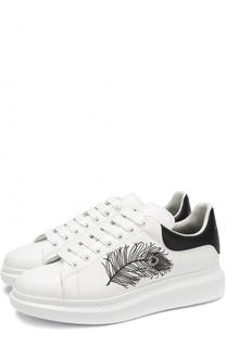 Кожаные кеды на шнуровке с контрастной вышивкой Alexander McQueen