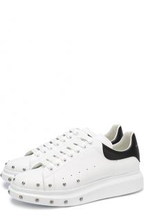 Кожаные кеды на шнуровке с декоративной отделкой Alexander McQueen