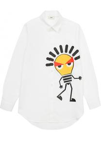 Хлопковая рубашка с принтом Fendi Roma
