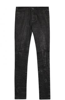 Укороченные кожаные брюки-скинни Paige