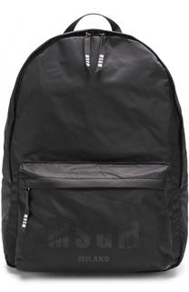 Текстильный рюкзак с внешним карманом на молнии MSGM