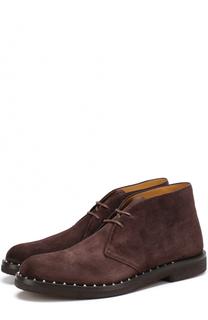 Замшевые ботинки на шнуровке с декоративной отделкой ранта Valentino