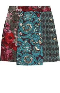 Мини-юбка асимметричного кроя с принтом и декоративными пуговицами Dolce & Gabbana