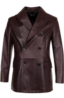 Двубортный кожаный пиджак Brioni