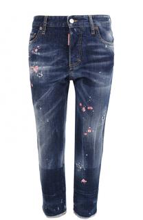 Укороченные джинсы с потертостями и вышивкой Dsquared2