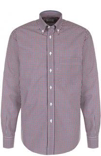 Хлопковая рубашка в клетку с воротником button-down Brioni