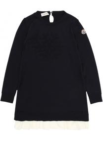 Вязаное мини-платье из шерсти с контрастной оборкой Moncler Enfant