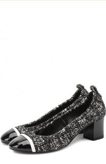 Текстильные туфли с лаковым мысом на устойчивом каблуке Lanvin