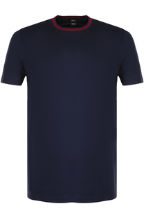Хлопковая футболка с контрастной отделкой BOSS
