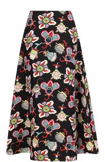 Шерстяная юбка-миди с ярким принтом Valentino