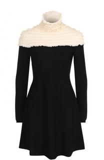 Платье-миди с контрастным лифом и оборками Valentino