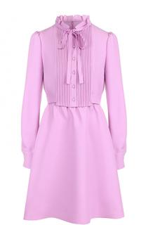 Приталенное мини-платье с воротником аскот Valentino