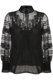 Кружевная блуза с воротником-стойкой Valentino