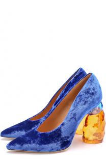 Бархатные туфли на декорированном каблуке Dries Van Noten
