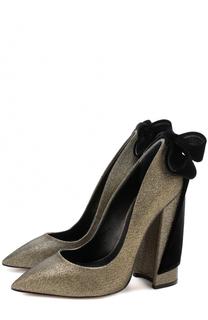 Туфли Babo из металлизированного текстиля с бантом Aleksandersiradekian