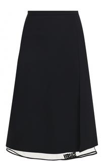 Однотонная юбка-миди с прозрачной вставкой Versace