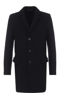 Однобортное шерстяное пальто с отложным воротником HUGO