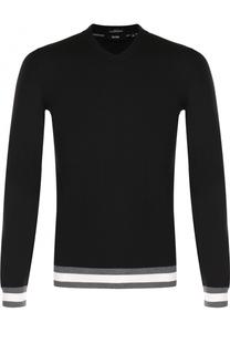 Шерстяной пуловер с контрастной отделкой BOSS
